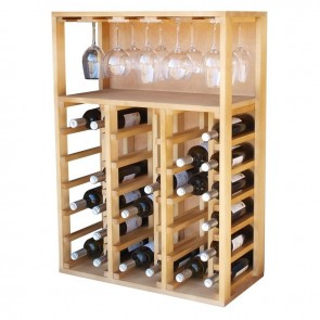 Pine Wine Rack Godello with Glass Holder 36 Bottles